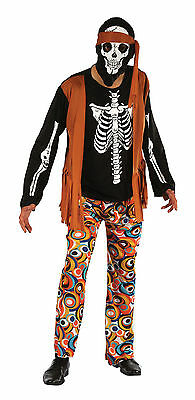 Skeleton Hippy Halloween Horror Fancy Dress Costume Outfit Size M-L - Hippie Outfits Halloween