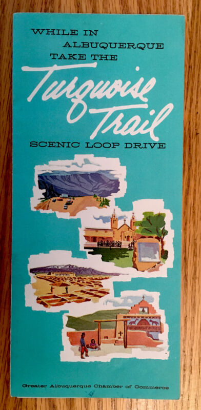 1950's New Mexico Turquoise Trail Scenic Loop Drive Map Colorfully Illustrated