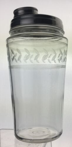 VINTAGE COCKTAIL SHAKER PARTY DRINK MIXER LEAF SCROLL GLASS ETCHED