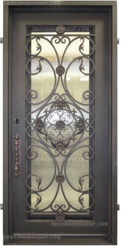 ROSETTA Wrought Iron Single door Operable Glass in Dark Bronze (In-Stock)