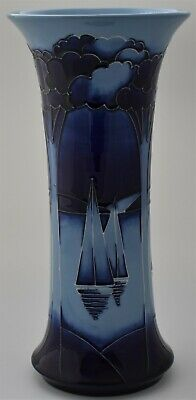 Moorcroft Pottery Yachts At Moonlight Vase By Paul Hilditch - Limited Edition