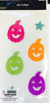 Happy Halloween Window Bright Pumpkins Gel Stickers Cling Decor Fall - Halloween Pumpkin Decorating Stickers