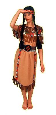 3tlg Damen Mädchen komplett Kostüm SQUAW Indianerin Indianer Kleid knielang (Indianer Kleid)