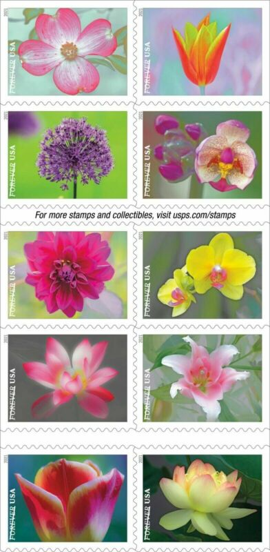 TangStamps:US #5558-5567 2021 Garden Beauty Complete Set of 10 Forever Stamp