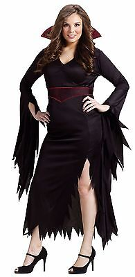 Womens Long Vampire Costume Gown Black Red Fancy Plus Size XL Adult Vampiress