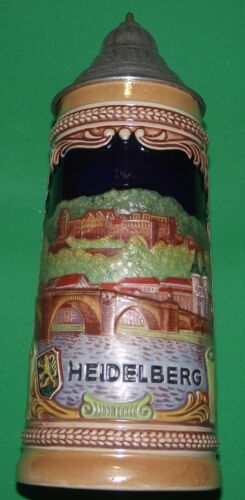 "VINTAGE GERMAN BEER STEIN ""HEIDELBERG"" WESTERN GERMANY ORIGINAL GERZIT 5  7"""