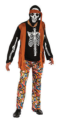 One Size Dead 1960s #Hippy Outfit For Men Skeleton Fancy Dress Horror Party (Hippie Outfits For Men)