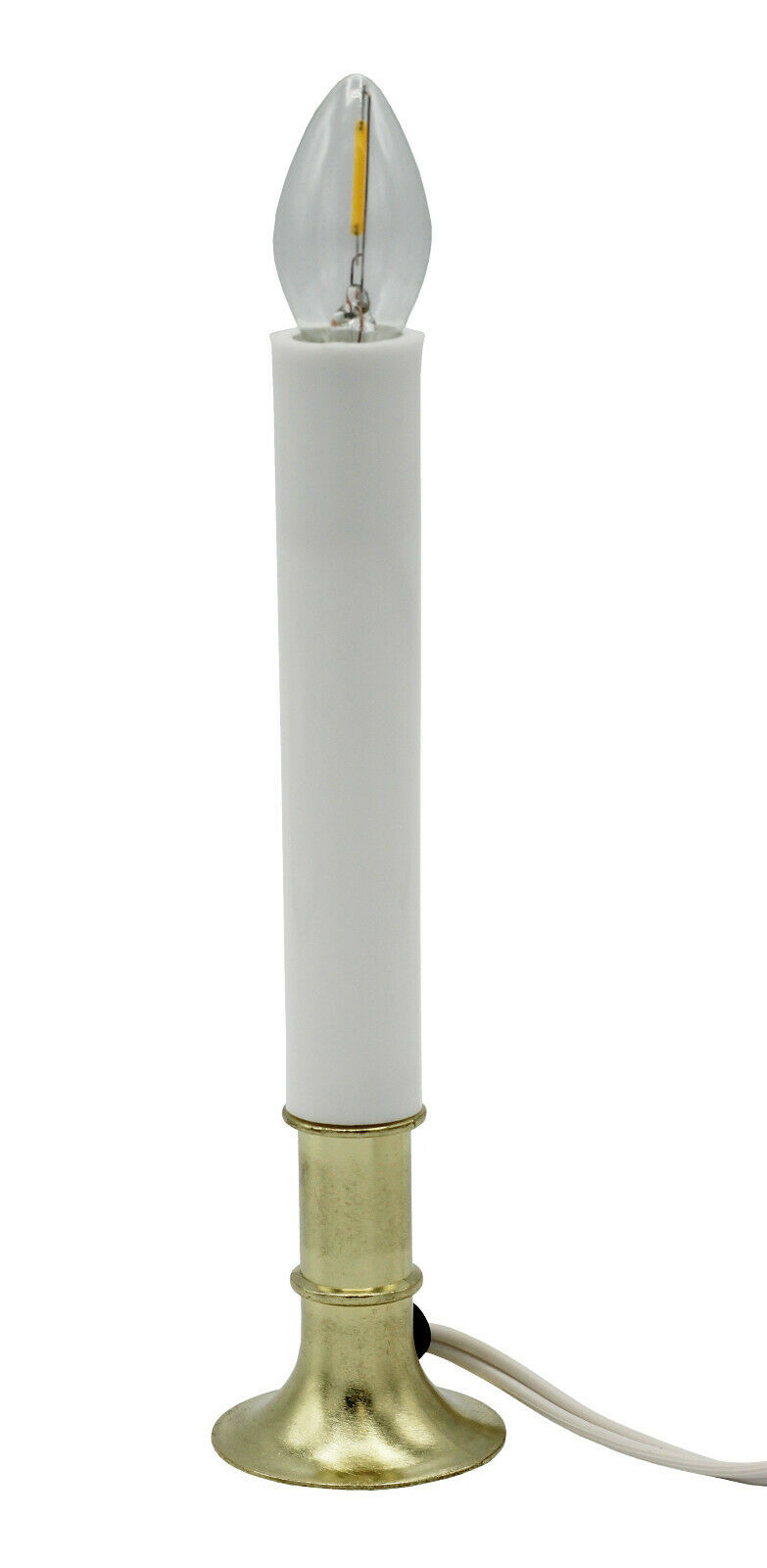 Electric Window Candle Lamp with LED Bulb, On/Off Switch, Brass Plated Base Candles