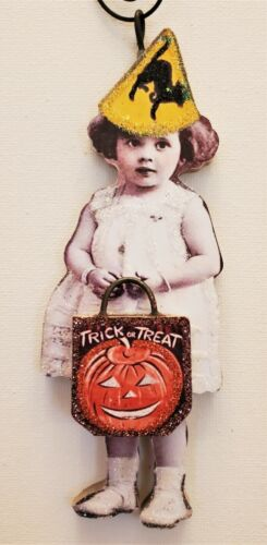 VICTORIAN CHILD in  PARTY HAT & TREAT BAG * Glitter WOOD HALLOWEEN ORNAMENT