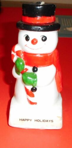 Vintage Greeting Card Candle Snowman 5 1/2 inch with box Holiday Christmas Decor