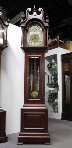 """Antique OSCAR ONKEN Long Case Mahogany Grandfather Clock. PAPER LABEL. 95""""T.1906"""