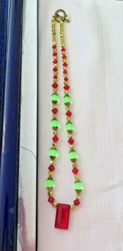 Vintage Vaseline Yellow Red Glass Faceted Bead Necklace