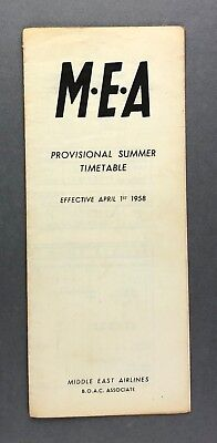 MEA MIDDLE EAST AIRLINES PROVISIONAL TIMETABLE SUMMER 1958