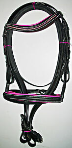 Black Leather Padded Bridle with Diamante Detail,Rubber Reins & Flash. PINK/BLUE
