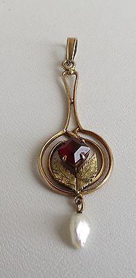 Vintage 10K Gold art nouveau Lavalier  ruby & pearl  pendant estate