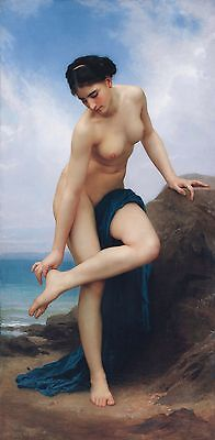 "William Bouguereau, After the Bath, Nude on beach, antique, 20""x10"" Canvas Art"
