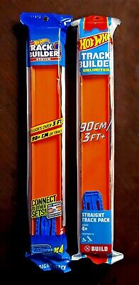 Hot Wheels Straight Track Connector Builder System 1 Lot of 2 90 cm 3 ft each