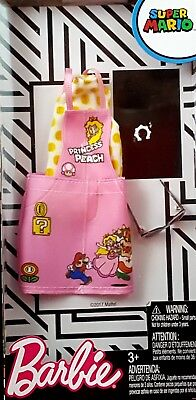 Barbie Super Mario Princess Peach White Top & Pink Denim Jumper Fashion Pack