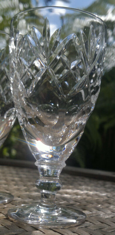 """Vintage Bohemian Cut Crystal Sherry-Cordial Glasses Set of Four  4.25""""Tall 100ml"""