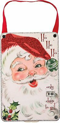 VINTAGE WOOD COUNTDOWN CALENDAR~Ho Ho Ho _ days to go~Christmas Santa Ornament - Countdown Calendar Days