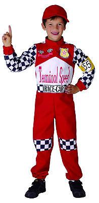 Formel 1 Rennfahrer Kostüm für Kinder schwarz-weiss-rot Cod.201168