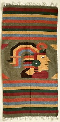 Aztec Mayan Zapotec Tribal Woven Wool Rug Blanket