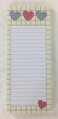 HEARTS Love Grid Border Ruled Magnetic Note Pad Shopping List Refrigerator