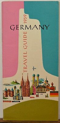 1959 Germany vintage travel brochure fold-out map guide illustrated cover b