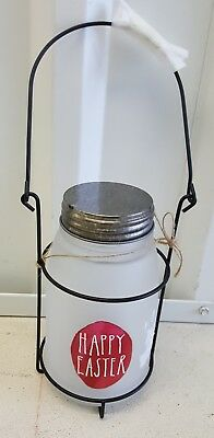 "NEW Rae Dunn QUART Frosted Glass ""Happy Easter"" Hanging Basket Candle Jar"