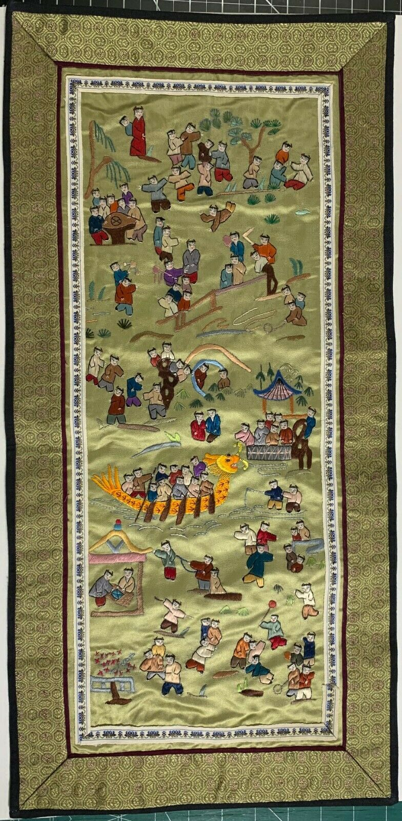 Antique Chinese Silk Hand-Embroidered Panel - Stitched Asian Textile 20th C - $99.99