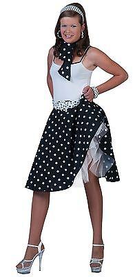 1950s Rock n Roll Schwarz Rock & Schal, Gepunktet Jive Bopper Kostüm (1950's Kostüm)