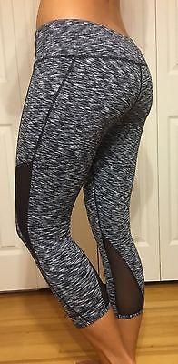 NEW Lululemon Size 12 Crop Stretch Yoga Workout Pants Black Gray Lace Bottom