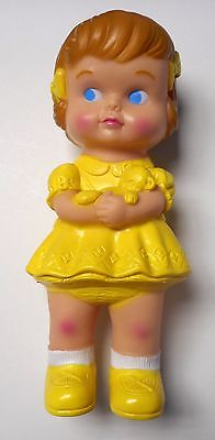 """Brand New**Rubber Doll Girl Yellow**make sounds kids toy 7.5"""" x 3"""" (US Seller)"""