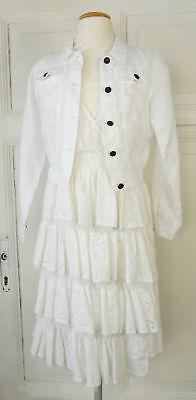 r Kleid & Bolero Jacke Kommunion Gr. 10/140 Weiß (B366) (Kommunion Kleider Designer)