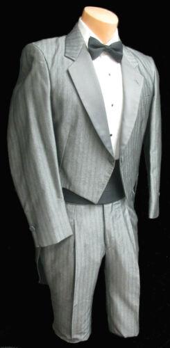 Boys Size 14 Retro Silver Grey Striped Raffinati Tuxedo Tailcoat Vintage Costume