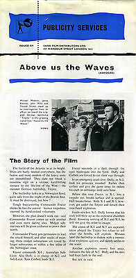 ABOVE US THE WAVES 1955 John Mills John Gregson Donald Sinden PRESSBOOK & ADVERT