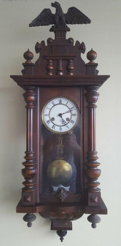 Antique 19th Century Junghans German Pendulum Regulator Striking Wall Clock