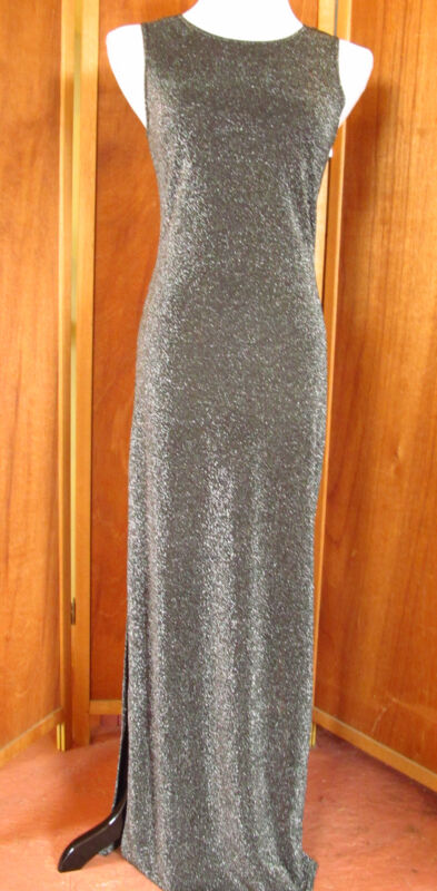 Vtg 80s Jalate Sleek Metalic Hollywood Drag Gown/Costume/Party/Prom Dress USA S
