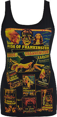 Petit Film Halloween (WOMENS HORROR TANK TOP BRIDE OF FRANKENSTEIN B MOVIE POSTER HORROR MONSTER)
