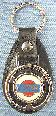 (Retro DATSUN Bullseye Mini Steering Wheel Black Leather Keyring Key Fob Holder )