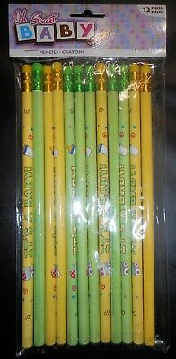 OH SWEET BABY Pencil Crayons Baby Shower  Its A Baby Party Supply Vintage Adult  (Shower Crayons)