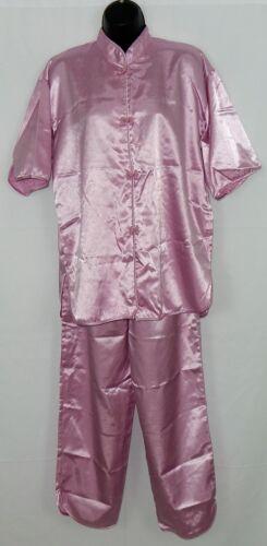 Laughaway Women's PJ's Size M Dusty Rose Satin Oriental Look Frogs Free Shipping