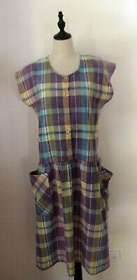 80s Dresses | Casual to Party Dresses VINTAGE 80'S ~ Mauve Yellow Green Madras Plaid Cotton Dropped Waist Dress 12 14 $38.64 AT vintagedancer.com