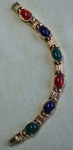 JOAN RIVERS GOLD TONE MULTICOLOR  OVAL CABOCHON LINK BRACELET ~ Free Shipping