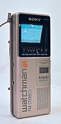 Vintage Sony Watchman Flat B/W TV FM Stereo Receiver Model FD-3A 1980's