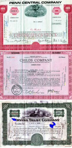 Lot of 3 Vintage Stock Certificates-PENN CENTRAL CO.-CHILDS CO.-IRVING TRUST CO.