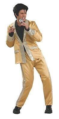 Adult Elvis Presley Gold Satin Suit Costume  - Gold Elvis Costume