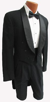 Men's Black Tuxedo Tailcoat Fancy Dress White Tie Vampire Dickens Costume (Black Tuxedo Costume)