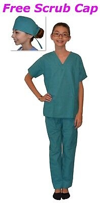 Kids Scrubs Teal Green REAL Childrens Doctor and Nurse Scrub Sets - Nurse Costume Kids