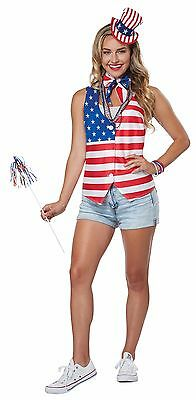 4th of July Patriot Lady Costume Kit - Vest Hat and Scarf (Patriotic Costumes For Women)